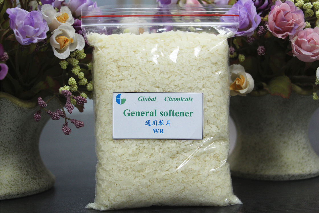 Low Yellowing Hot Water Soluble Cationic Softener Flakes WR For Dyeing House